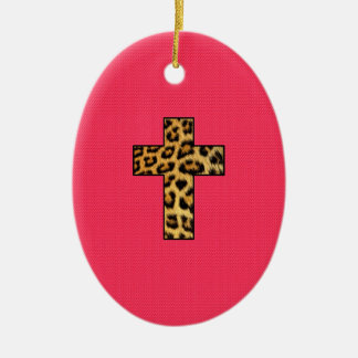 Leopard Print Cross on Neon Coral Pink Christmas Ornament