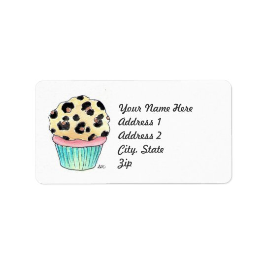 Leopard Print Cupcake Address Label