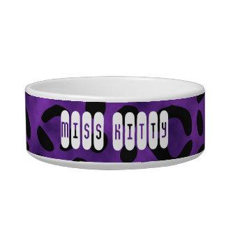 Leopard Print Custom Name Purple Bowl