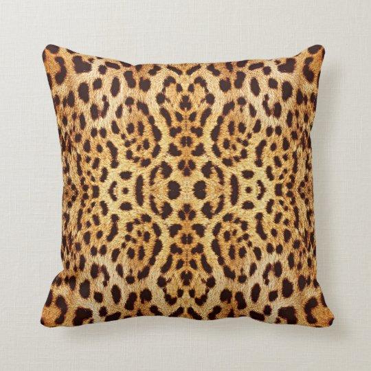 Leopard print elegant fur throw pillow
