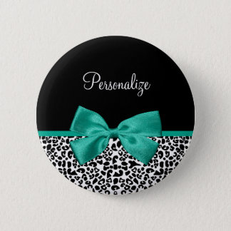 Leopard Print Emerald Green Ribbon Bow Chic Name 6 Cm Round Badge