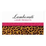 Leopard Print Fashion Designer Elegant Modern Pink Business Cards