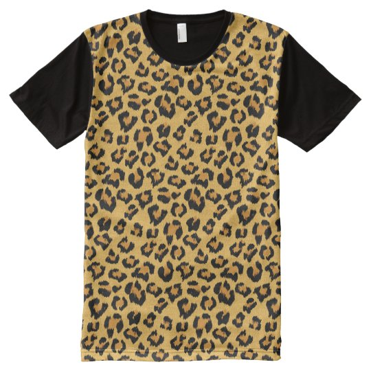 42a5e34f9f95 Leopard Print Faux Fur Animal Skin All-Over Print T-Shirt | Zazzle.co.uk