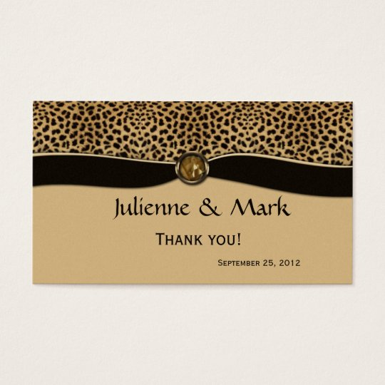 Leopard Print FAUX Ribbon Jewel Wedding Favour Business Card