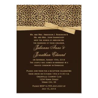 Leopard Print FAUX Ribbon Post Wedding Reception 14 Cm X 19 Cm Invitation Card