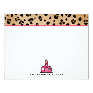 Leopard Print Flat Notecards For Teachers 11 Cm X 14 Cm Invitation Card