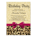 Leopard Print Fuchsia Pink Bow Girl Birthday Party Personalized Invites