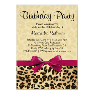 Leopard Print Fuchsia Pink Bow Girl Birthday Party 11 Cm X 16 Cm Invitation Card