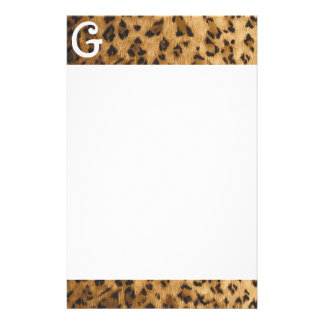 Leopard Print G monogram initials Stationery