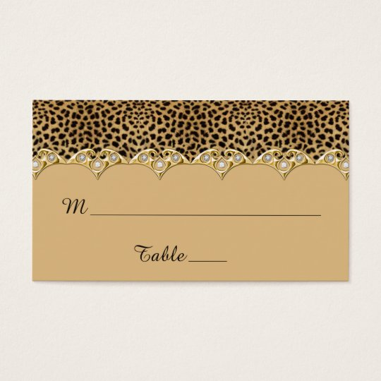 Leopard Print Gold and Diamonds Place Cards