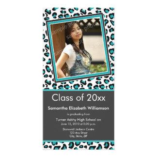 Leopard Print Graduation Photo Announcement (aqua) Customized Photo Card