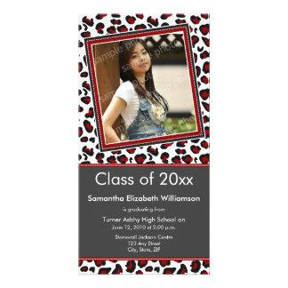 Leopard Print Graduation Photo Announcement (red) Card