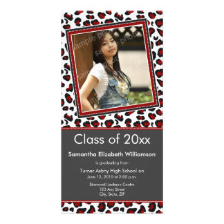 Leopard Print Graduation Photo Announcement (red) Custom Photo Card