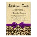 Leopard Print Grape Purple Bow Girl Birthday Party Custom Invites
