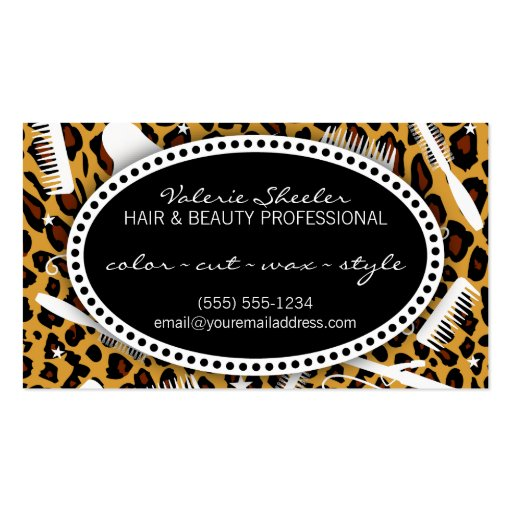 Leopard Print Hair & Beauty Appointment Business Card Templates