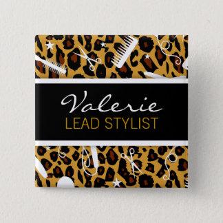 Leopard Print Hair Salon Name Badge