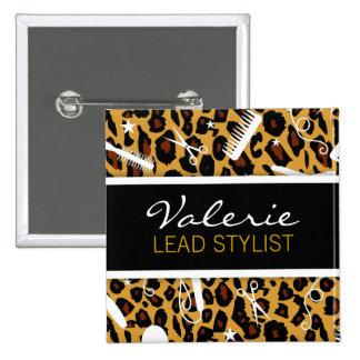 Leopard Print Hair Salon Name Badge Buttons