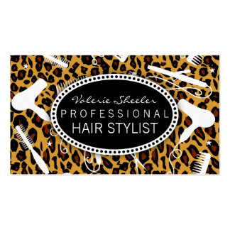 Leopard Print Hair Salon Tools Pack Of Standard Business Cards