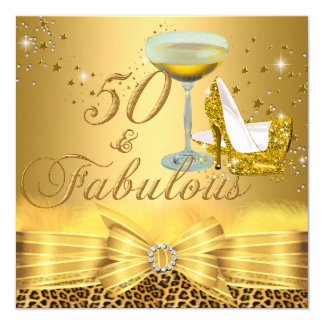 Leopard Print & Heels 50 & Fabulous Gold Card