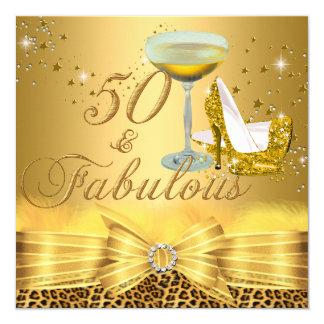 Leopard Print & Heels 50 & Fabulous Gold 13 Cm X 13 Cm Square Invitation Card