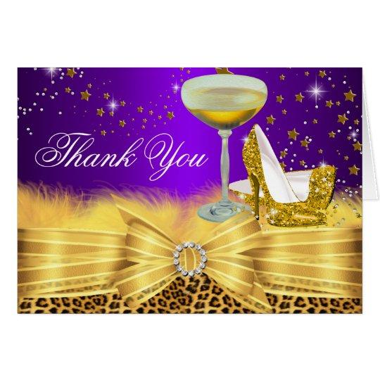 Leopard Print & Heels Purple Thank You Card