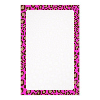 Leopard Print/hot pink/Add background color!! Stationery