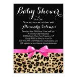 Leopard Print Hot Pink Bow Girl Baby Shower 13 Cm X 18 Cm Invitation Card