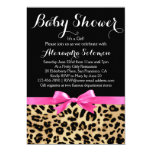 Leopard Print Hot Pink Bow Girl Baby Shower 13 Cm X 18 Cm Invitation Card
