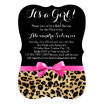 Leopard Print Hot Pink Bow Its a Girl Baby Shower 13 Cm X 18 Cm Invitation Card