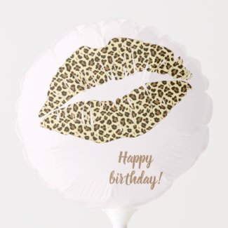Leopard Print Kiss - Happy Birthday Balloon