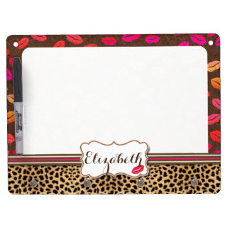 Leopard Print Lips Kisses Personalized Dry Erase Board With Key Ring Holder