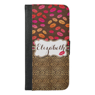 Leopard Print Lips Kisses Personalized iPhone 6/6s Plus Wallet Case