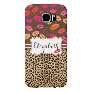 Leopard Print Lips Kisses Personalized Samsung Galaxy S6 Cases