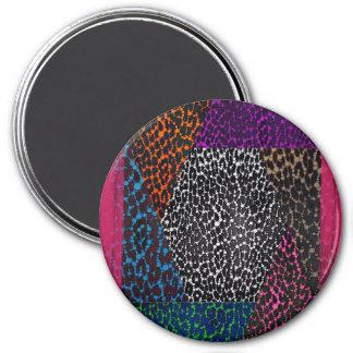 Leopard Print Mix Bling Grunge 7.5 Cm Round Magnet