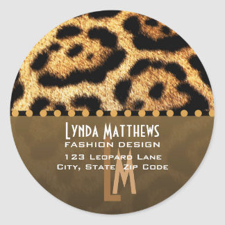 Leopard Print Monogram Address Labels