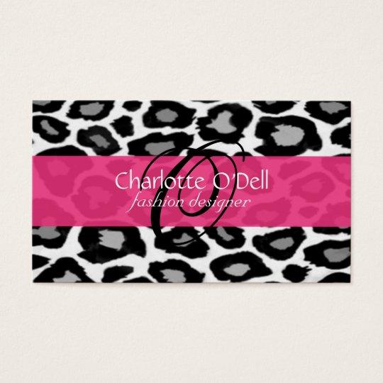 Leopard Print Monogram Business Cards
