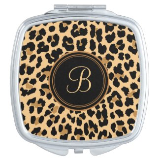 Leopard Print Monogram Compact Travel Mirror