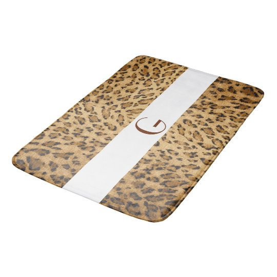 Leopard Print Monogram Initial G Home Rug or