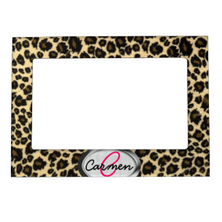 Leopard Print Monogram Magnetic Frame