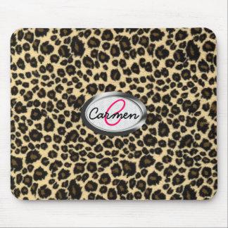 Leopard Print Monogram Mouse Pad
