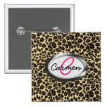 Leopard Print Monogram Pinback Button