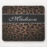 Leopard Print Monogram Rhinestone Bling Mouse Pad