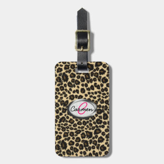 Leopard Print Monogram Tag For Bags