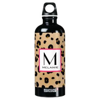 Leopard Print Monogram Water Bottle