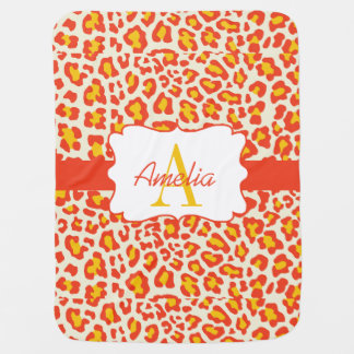 Leopard Print Orange Yellow White Swaddle Blanket Buggy Blanket
