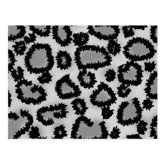 Leopard Print Pattern Black and Gray Postcards