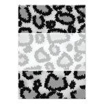 Leopard Print Pattern, Black and Grey. 13 Cm X 18 Cm Invitation Card