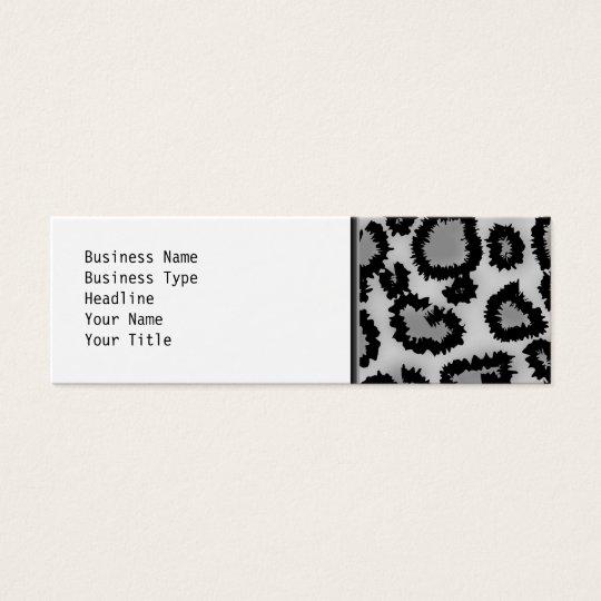 Leopard Print Pattern, Black and Grey. Mini Business Card