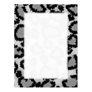 Leopard Print Pattern, Black and Grey. Postcard