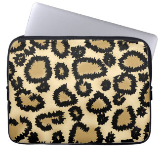 Leopard Print Pattern, Brown and Black. Laptop Sleeve